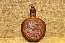 A Rare Qing Bamboo Flower and Bird Snuff Bottle
