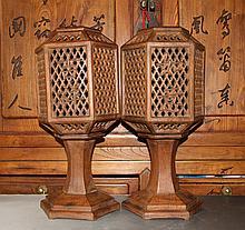 Pair Important Republic Period Carved Huan Hua Li Wood Table Lamps