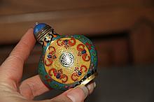 A Fine Qing   Gilt Cloisonne Enamel Bronze Snuff Bottle