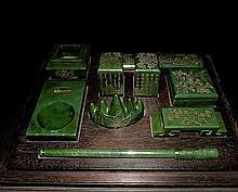 Important Qing Set of He Tian Green Jade Reading Room Wares