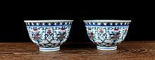 A Pair B/W and Dou Cai Flowers Porcelain Bowls