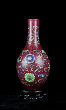 A Famille Rose Lotus Porcelain Vase