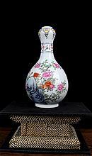 A Fine Famille Rose Flowers Porcelain Vase