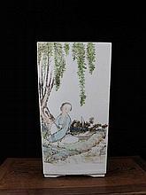 A Large Famille Rose Figures Square Porcelain Vase