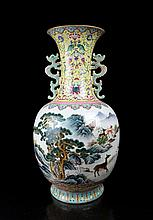 A Large Famille Rose Landscape and Deers Porcelain Vase