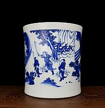 A Large Blue and White Warrors Porcelain Brushpot