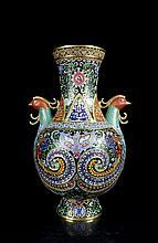 A Large Gilt Cloisonne Enamel Bronze Phoenixs Vase