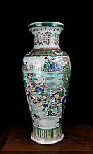 A Large Wu Cai Warrors Porcelain Vase
