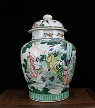 A Large Gu Cai Figures Porcelain Jar with Cover