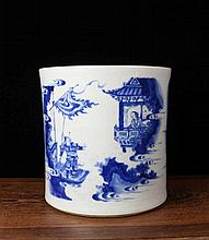 A Large Blue and White Figures Porcelain Brushpot