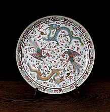 A Fine Famille Rose Dragons and Phoenixs Porcelain Plate