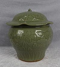 A Truely Carved  Long Quan Celadon Porcelain Cover Jar