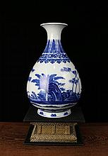 A Fine Blue and White Plantain Porcelain Yuhuchuan Vase