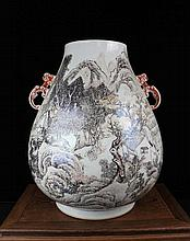 A Large Ink Color Landscape and Figures Porcelain Zun