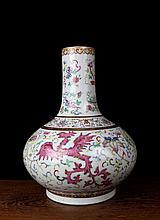 A Gilt Famille Rose Multi Colors Phoenixs Porcelain Vase
