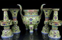 A Large Five Piece Famille Rose Ba Bao Porcelain Garniture