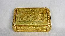 A Rare Antique Gold Gilt Bronze Phoenixs Fruit Cover Box