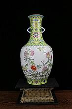 A Green Ground Famille Rose Open Flowers Porcelain Vase