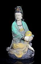 A Large Multi Mine Colors Nan Mood Seated Guanyin