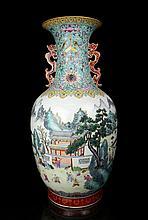 A Super Size Famille Rose Landscape and Children Playing Porcelain Vase