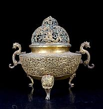 A Large Gilted Gold Bronze Dragons Carved Censer
