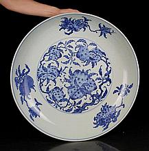 A Rare Super Size Blue and White San Duo Porcelain Plate