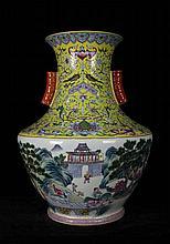 A Large Famille Rose Landscape and Figures Porcelain Vase