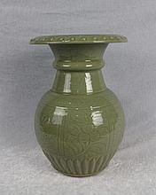 A Truely Carved  Long Quan Celadon Porcelain Carved Vase