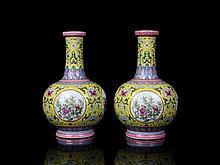A Pair Fine Enamel Open Flowers Porcelain Vases