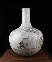 A Large Famille Rose Cows Porcelain Bottle Vase