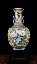 A Yellow Ground Famille Rose Open Landscape and Figures Porcelain Vase