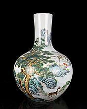 A Super Size Famille Rose Landscape and Deers Porcelain Vase