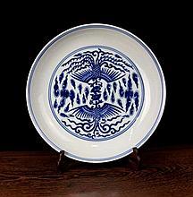 A Blue and White Double Phoenixs Porcelain Plate