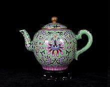 A Gilted Famille Rose Lotus Porcelain Teapot