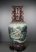A Super Size Famille Rose Landscape and Figures Porcelain Vase