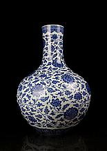 A Large Blue and White Lotus Porcelain Vase