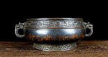 A Rare Bronze Censer with Two Dragons Ears