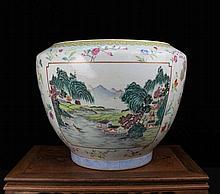 A Large Famille Rose Open Figures and Landscape Porcelain Pot