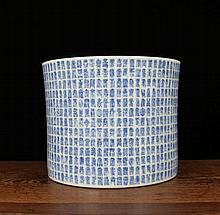 A Blue and White Thousand Shou Characters Porcelain Brushpot
