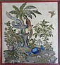 Framed English Needlework and Stumpwork Textile With Birds & Insects