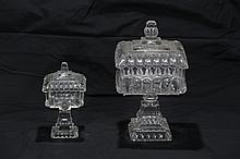 Two Clear Glass Pedestal Covered Compotes