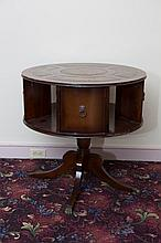 Round Mahogany Drum Table