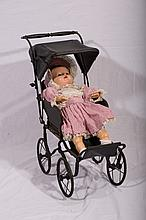 Period Metal Doll Stroller