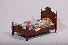 Walnut Victorian Style Doll Bed