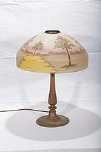 Very Nice Unmarked Reverse Painted Table Lamp