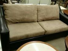 Leather and suede style sofa