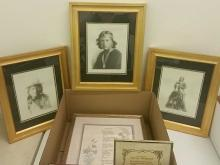 3 Framed Native American Photographs, on Canvas