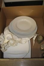 White dishes from Target and Pottery Barn