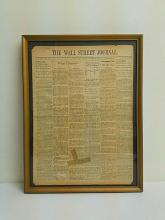 Framed The Wall Street Journal Front Page