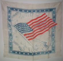 Presidential Political Kerchief: Benjamin Harrison & Levi P Morton 38 Star Flag